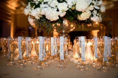 Paper Champagne Flute Seating Card Scrolls by PennyAnne Designs