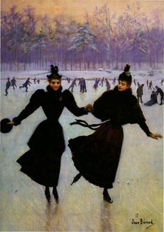 Fashion Posters - The Skaters Poster by Jean Beraud Belle Epoque, Jean Beraud, Festival Avignon, French Impressionist Painters, Jean Leon, Jean Georges, Sports Painting, Art Ancien, Edouard Manet