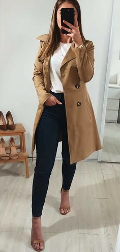 brown peacoat #spring #outfits
