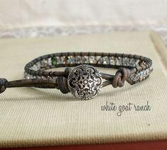 Czech Glass Leather Stacking Bracelet Handmade by WhiteGoatRanch