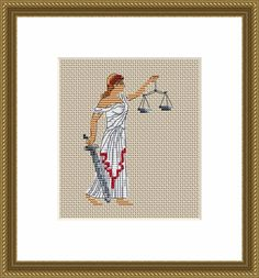 Lady Justice, Law And Justice, Dmc Embroidery Floss, Shirt Embroidery, Types Of Patterns, Star Patterns, Cross Stitch Fabric, Cross Stitch Patterns, Greek Mythology Gods