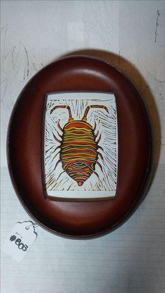 Lino Print of a Sow Bug (1 of 4)  made by Jennifer LeBlanc.
