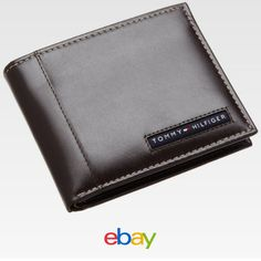 NEW TOMMY HILFIGER MEN'S LEATHER CREDIT CARD WALLET PASSCASE BILLFOLD 5675-02