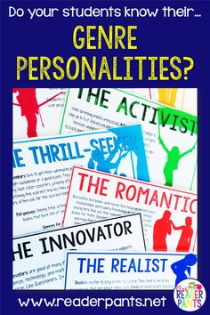 This poster set goes with my popular What's Your Genre Personality? Quiz on TPT. These posters are designed to complement the Secondary version of the quiz. They are great for library or classroom decor or in creating genre personality book displays. Middle School Ela, Middle School English, The New School, New School Year, High School, Classroom Activities, Classroom Decor, Reading Genres, Reading Passages