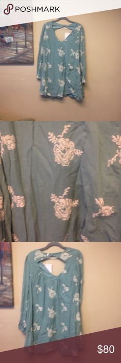 Free people mini dress/price firm Long sleeve embroidered misty green dress/ brand new Free People Dresses Mini