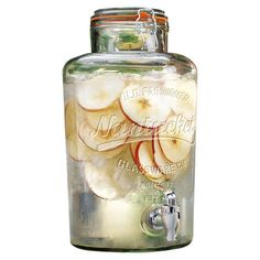 Inspired by old-fashioned mason jars, this glass beverage dispenser is perfect for serving crisp lemonade or delicious cider at your next soiree.
