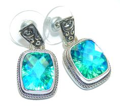 $71.25 Secret+Ocean++Blue+Aqua+Topaz+Sterling+Silver+Earrings at www.SilverRushStyle.com #earrings #handmade #jewelry #silver #topaz