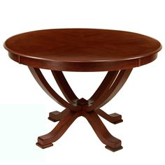 Form and function come together with this cherry-finish round dining table. This table is made from solid wood with an attractive cherry veneer finish. The contoured legs complement the top beautifully, and the round table will seat four to five diners.