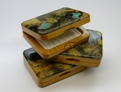 Wood Fly Box, Buckeye Burl and Turquoise | Bitterroot Nets Custom Burl wood Landing Nets. Each one unique.
