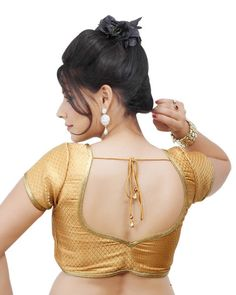 Gold SL Brocade Readymade Partywear Saree Blouse X-108