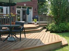 Like how this deck has minimal railings and multiple levels.