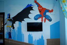 Superheros mural kids room