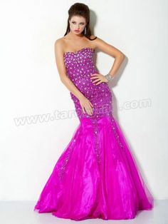 Organza Mermaid Beaded Sweetheart Fuschia Evening Dress