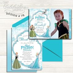 Do you have a big Frozen fan at home that's excited to have a Princess Anna, Elena birthday party? Then look no further than this whimsically vibrant and playful invitation to help make their dreams come true! From white and frozen shades of blue, to the sheen and trendy patterns, this adorable Frozen birthday invitation is sure to please your little princess and kick off the party in style! Frozen Princess, Princess Anna, Little Princess, Princess Birthday Invitations, Shades Of Blue, Vibrant, Birthday Parties, Handmade Gifts, Fan