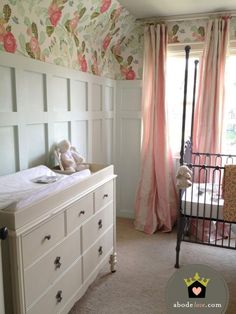 wainscoting & floral wall accent by leah