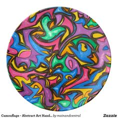 Camouflage - Plate with Hand Painted Abstract Art Camouflage Pattern Print in Bold Bright Colors