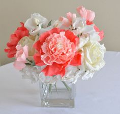 Coral Wedding Centerpieces | 2013 wedding trends, centerpiece, Coral paper flowers, Coral peony ...