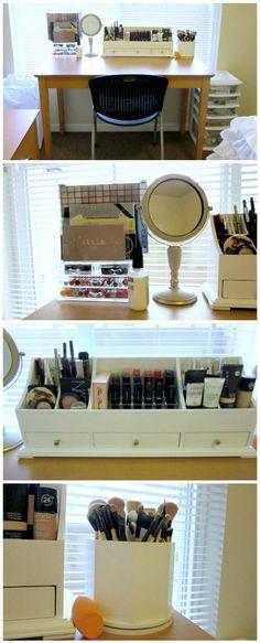 makeup vanity with a basic desk