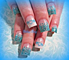 My baby shower baby boy nails done by 3d nails on midvale for 3d nail salon midvale utah