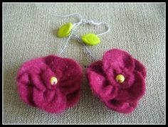 """filcowe kwiatowe kolczyki """"prymulki"""" www.robotkowyswiatmychy.blogspot.com"""
