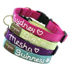 Personalized Webbing Dog Collar (17 colors to choose from) Hand Embroidered with your dog's name. $29.95, via Etsy.