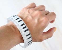 Piano Solid bracelet  Epoxy resin bracelet  by VisitingCINDERELLA, $23.00