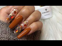 Nail Art Designs Videos, Fall Nail Designs, Acrylic Nail Designs, Coffin Nails Matte, Blue Acrylic Nails, Encapsulated Nails, Thanksgiving Nails, Autumn Nails, Nagel Gel