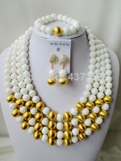 Amazing Nigerian Bead Necklaces Wedding White Giant clam Beads Jewelry Set African Beads Jewelry Set CWS1099 $98.69