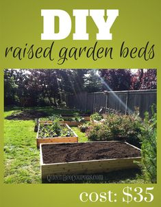 DIY raised garden beds for just $35! Save money this summer on veggies by growing them yourself.