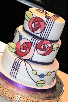 Charles Rennie Mackintosh inspired wedding cake with Art Deco roses and decorati. - Charles Rennie Mackintosh inspired wedding cake with Art Deco roses and decoration - Charles Rennie Mackintosh Designs, Charles Mackintosh, Art Nouveau Pattern, Art Nouveau Design, Art Deco Cake, Art Nouveau Interior, Art Nouveau Flowers, Home Baking, Rose Cake