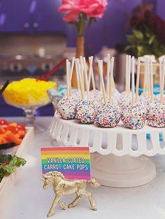 Rainbow sprinkle cake pops and gold unicorns
