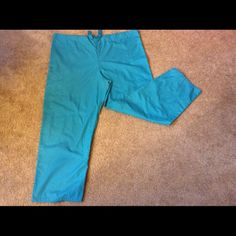 Cherokee Scrub Pants Teal. Draw string only. NOT flares. 1 pocket on right behind. 1 pocket-in-pocket on right thigh. Cherokee Pants