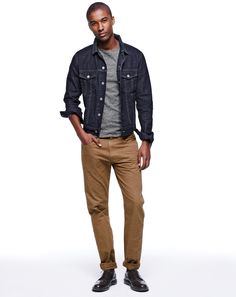 J.Crew mens denim jacket in rinse wash and 770 garment-dyed jean.