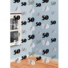 6 Black Silver 50th Birthday Party 7ft String Decorations