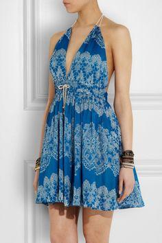 Zimmermann|Drifter floral-print cotton beach dress.  Pretty, beachy, and feminine.  Love low back summer dresses.