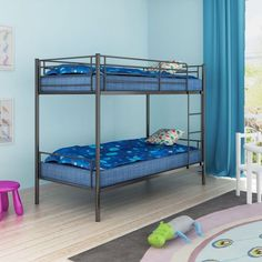 Childrens Bunk Bed Frame Metal Black Ladder Bedroom Furniture Home Safety Rails #ChildrensBunkBedFrame