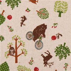 natural colored bicycle bear owl forest animal Canvas fabric from Japan - Animal Fabric - Fabric - kawaii shop modeS4u