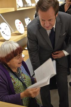 Launching of the Calder Collection in the Bernardaud boutique rue Mazarine in Paris - Agnès Varda and Frédéric Bernardaud