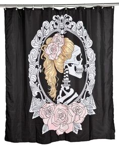 Too Fast Tattoo Cameo Skull Pinup Shower Curtain Rockabilly Kitsch Punk Undead Rockabilly, Rock And Roll, Goth Tattoo, Tattoos, Skull Shower Curtain, Shower Curtains, Skull Decor, Skull Art, Inked Shop