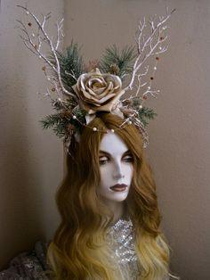 ELEN of the WAYS: Antler Headpiece Horned Deer by MorticiaSnow