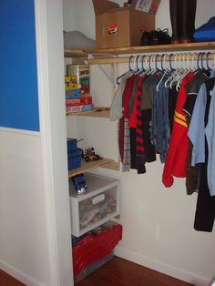 Kids closet organized DIY. I like the shelves in the side for all the LEGOS!