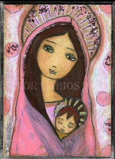 Sweet Dreams  Mother and Son  Folk Art  PRINT from by FlorLarios, $15.00