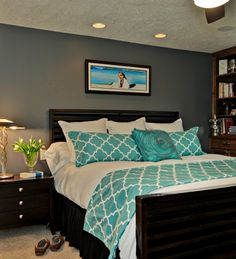 √ Navy Blue and Teal Bedroom . 53 Navy Blue and Teal Bedroom . Bed Design, House Design, Garden Design, Turquoise Bedding, Turquoise Room, Feature Wall Bedroom, Feature Walls, Home Bedroom, Bedroom Ideas