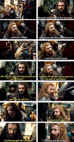 The Hobbit: The Desolation of Smaug - Thorin Oakenshield and Fili. Fili makes the tough decision of staying with his ill brother KIli instead of joining his uncle and company on the journey to the Lonely Mountain.