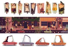 GilleardJames Graphic Vintage Retro Animation Scene Character Design Concept Vector OfLove L James Gilleard illyustraciya