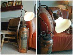 Antique Fire Extinguisher #floorlamp #recycled @idlights Wood Floor Lamp, Wood Lamps, Bronze Floor Lamp, Brass Lamp, Antique Floor Lamps, Modern Floor Lamps, Recycled Lamp, Vintage Lighting, Vintage Lamps