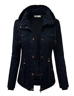 This jacket it beautiful. I like it in olive but kind of fell in love with it in navy. Love the buttons and how they look against the navy. Winter Outfits, Cool Outfits, Casual Outfits, Fashion Outfits, Womens Fashion, Military Style Jackets, Military Jacket, Anorak Jacket, Military Fashion