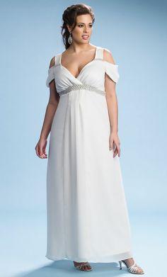 For Curvy Brides: Wedding Dresses Designed With You In Mind:  Grecian-Style Chiffon Wedding Dress, $242