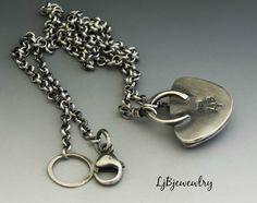 Silver Necklace Ocean Jasper Necklace Silver Pendant by LjBjewelry