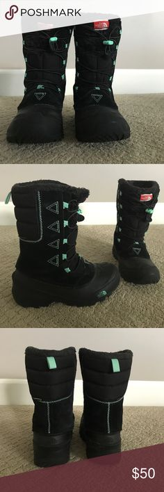 $50 North Face Heat Seeker snow boots, size 4!!! The North Face brand Heat Seeker snow boots, size 4. These stylish boots are black with mint green detailing, and in very good used condition! Worn for 10 days during Christmas holidays, there is very slight wear on the soles of the boots on the heels of both boots (my son likes to drag his feet). The North Face Shoes Rain & Snow Boots